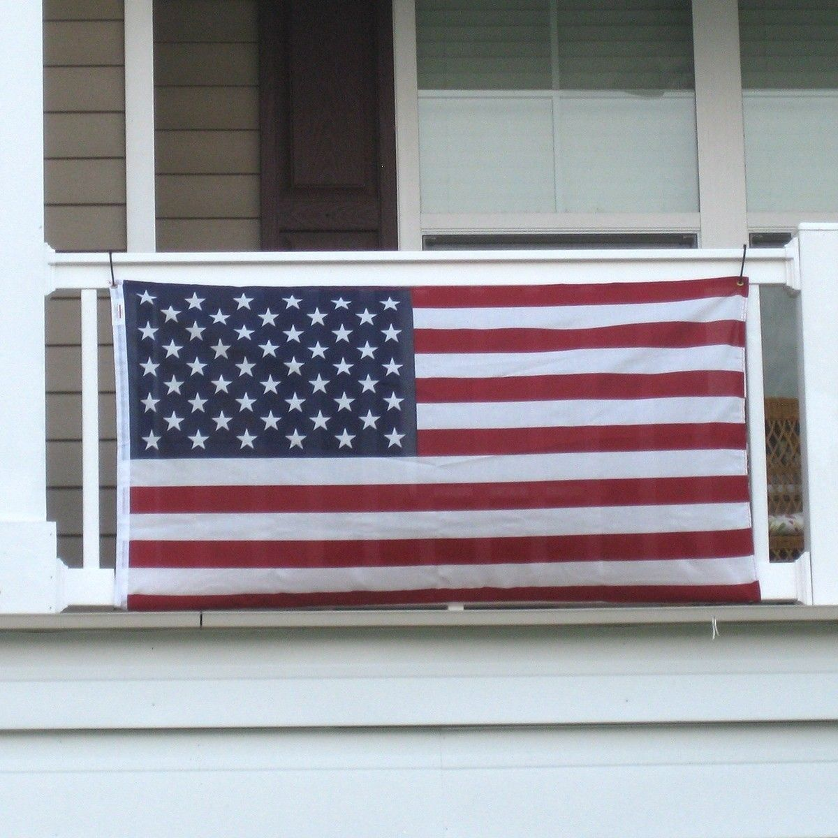 Balcony and Wall US Flags