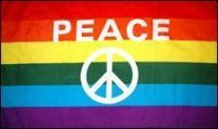 Rainbow Peace Sign Flag - 3 ft X 5 ft