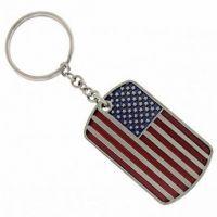 American Flag Dog Tag Key Chain
