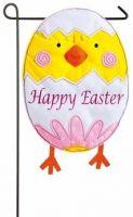 Easter Chick Egg Garden Felt Flag