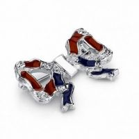 Hand Enameled Patriotic Bow Pin