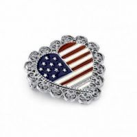 Heart-Shaped American Flag Pin