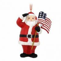 Patriotic Santa With US Flag Ornament