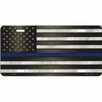 Thin Blue Line U.S. Flag License Plate