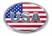 USA Oval Chrome Auto Emblem