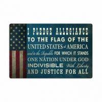 Vintage Metal Pledge of Allegiance Sign