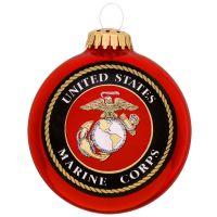 U.S. Marine Corps Glass Ball Ornament With Logo And Hymn