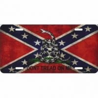 Gadsden Rebel Confederate Flag License Plate