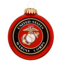 U.S. Marine Corps Glass Ball Ornament With Logo And Hymn