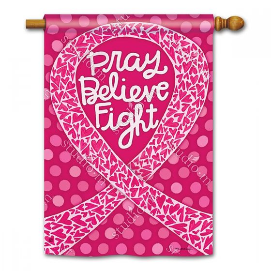 Pray Believe Fight Breast Cancer Banner