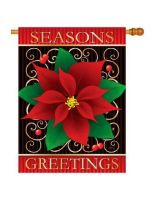 Season's Greetings Poinsettia Banner