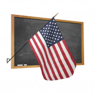 Premium Classroom U.S. Flag with Staff and Wall Bracket