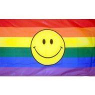 3' X 5' Rainbow Happy Face Flag