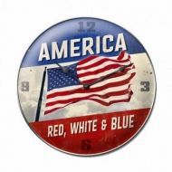 America Red, White and Blue Clock