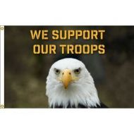 We Support Our Troops Eagle Flag