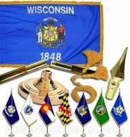 Indoor Mounted Wisconsin State Flag Sets