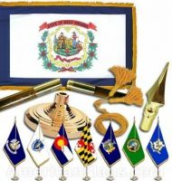 Indoor Mounted West Virginia State Flag Sets