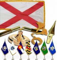 Indoor Mounted Alabama State Flag Sets