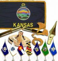Indoor Mounted Kansas State Flag Sets
