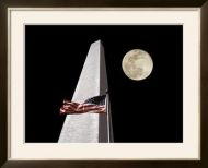 American Flag and Washington Monument Framed Art Print