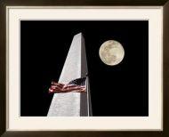 American Flag and Washington Monument Framed Art Print