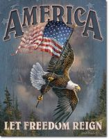 America Let Freedom Reign Vintage Tin Sign