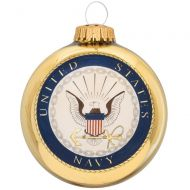 U.S. Navy Glass Ornament With Logo And Hymn