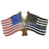 Thin Blue Line US flag and US Flag Pin