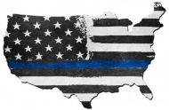 Thin Blue Line USA Map Sign