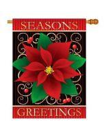 Season's Greetings Poinsettia Banner