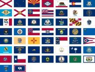 Complete Set of 50 3' X 5' Lightweight Poly State Flags