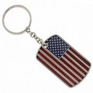 American Flag Dog Tag Key Chain