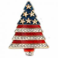 Patriotic Rhinestone Christmas Tree Pin