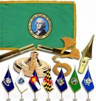Indoor Mounted Washington State Flag Sets