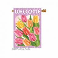 Welcome Tulips Indoor/Outdoor Flag