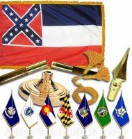 Indoor Mounted Mississippi State Flag Sets