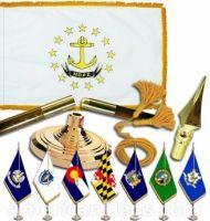 Indoor Mounted Rhode Island State Flag Sets