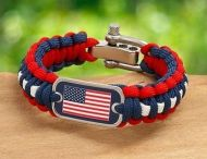 US Flag Survival Bracelet