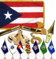 Indoor Mounted Puerto Rico State Flag Sets