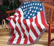4' X 6' Cotton USA Flag Afghan Blanket