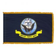 3' X 5' Indoor Fringed Nylon Navy Flag