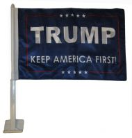 Trump Keep America First Car Flag (Blue)