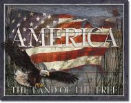 America The Land Of The Free Vintage Tin Sign