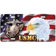 USMC Flag Airbrushed License Plate