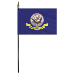 Navy Stick Flag - 4 in X 6 in