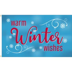 Warm Winter Wishes Flag - 3 ft X 5 ft