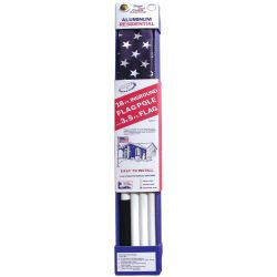 Colonial White Aluminum Flagpole with U.S. Flag - 18 ft