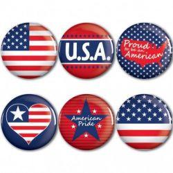 Patriotic Button 6 Pack - 2 Inch Round