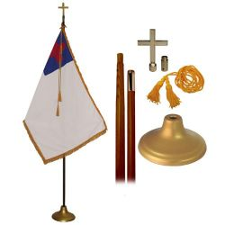 Deluxe Christian Flag Set - 9 ft