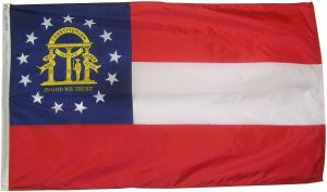 Nylon Georgia State Flag - 3 ft X 5 ft